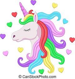 頭, たてがみ, 一角獣, 目, 虹, ピンク, 閉じられた, かわいい