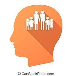 頭, アイコン, 家族, 長い間, pictogram, 影, マレ, 大きい