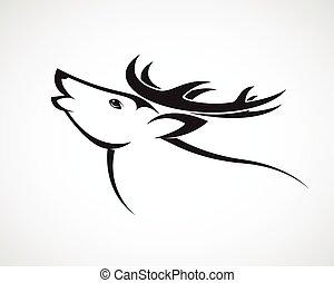 頭, イメージ, 鹿, ベクトル, 背景, 白