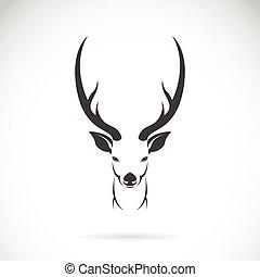 頭, イメージ, 鹿, 背景, ベクトル, デザイン, 白, あなたの, design.