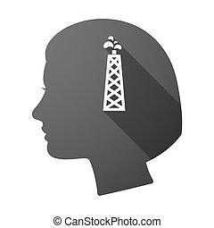 頭, オイル, 長い間, 女性, 影, タワー