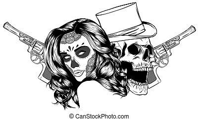 頭, ギャング, 死, 帽子, ベクトル, tattoo., 頭骨, 葉巻き