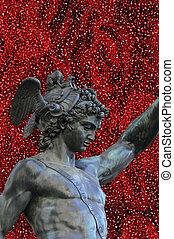 頭, クラゲ, フィレンツェ\, イタリア, 像, 細部,  perseus, 背景, 保有物, クラゲ, フィレンツェ\, 白, 銅