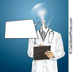 頭, クリップボード, 医者, ランプ, ベクトル, 人
