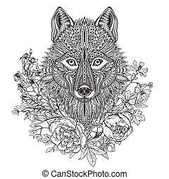 頭, グラフィック, いたずら書き, 民族, 手, 狼, 華やか, 花, 引かれる