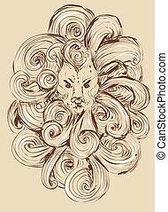 頭, グランジ, illustration., ライオン, ベクトル, デザイン, 入れ墨, illustration.stylized, style., tシャツ