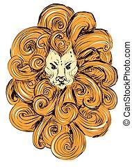 頭, グランジ, illustration., 定型, 隔離された, バックグラウンド。, ライオン, ベクトル, デザイン, 入れ墨, 白, style., tシャツ