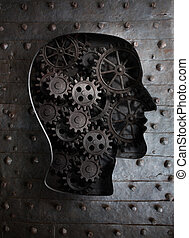 頭, コグ, 金属, 脳, ギヤ, 人間, concept: