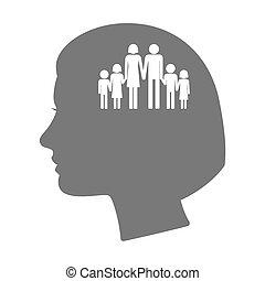 頭, シルエット, アイコン, 隔離された, 女性, 家族, pictogram, 大きい