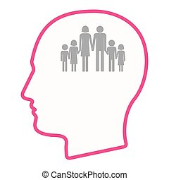 頭, シルエット, アイコン, 隔離された, 家族, pictogram, マレ, 大きい