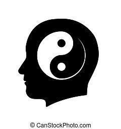 頭, シンボル, yin yang, 瞑想, アイコン