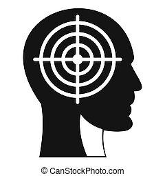 頭, スタイル, クロスヘア, アイコン, 人間, 単純である