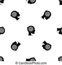 頭, ターゲット, パターン, seamless, 黒, 人間