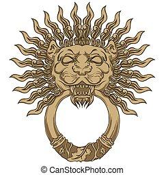 頭, ドア, 金, イラスト, 手, ライオン, ベクトル, 引かれる, knocker.