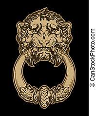 頭, ドア, 金, ライオン, ノッカー, 手, バックグラウンド。, vect, 黒, 引かれる
