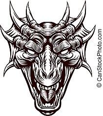 頭, ドラゴン, 悪魔, モンスター, 顔
