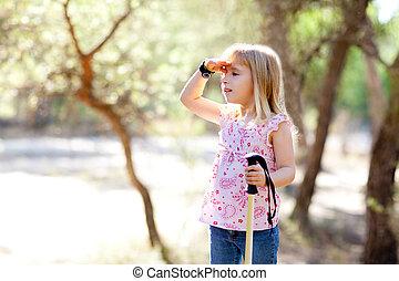 頭, ハイキング, 探索, 手, 森林, 女の子, 子供