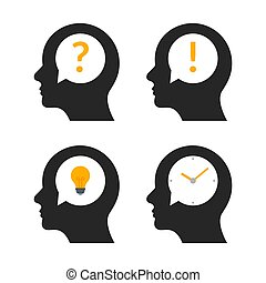 頭, ビジネス 人々, 心, 質問, 考え, イラスト, 創造的, 人, profile., 脳, 人間, アイコン