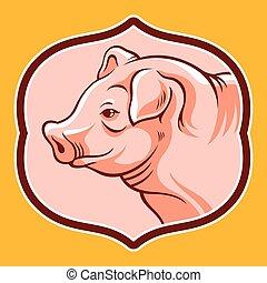 頭, フレーム, 豚