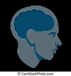 頭, ベクトル, 人間の頭脳, halftone