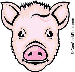 頭, ベクトル, 子豚
