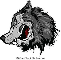頭, ベクトル, 狼, 漫画, マスコット