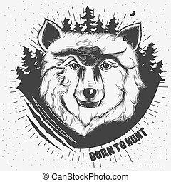頭, ベクトル, 狼, hand-drawn, イラスト