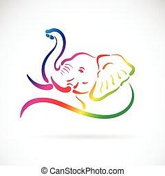頭, ベクトル, 白い背景, 象