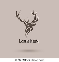 頭, ベクトル, 芸術, 抽象的, 定型, deer., ロゴ