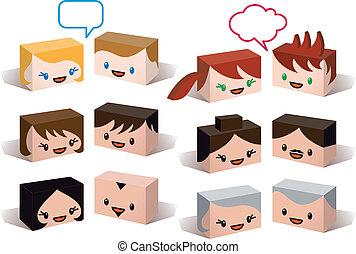 頭, ベクトル, avatar, 人々