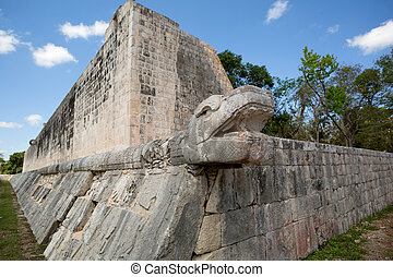 頭, ボール, 法廷, mayan, ヘビ, 彫刻