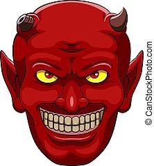 頭, マスコット, 悪魔, 赤
