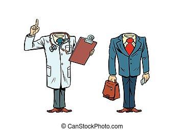 頭, レイアウト, mockup, 医者, なしで, ビジネスマン