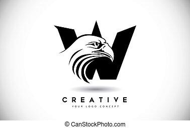 頭, ワシ, 手紙, ロゴ, 創造的, ベクトル, w, illustration.