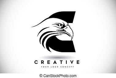 頭, ワシ, c, 手紙, ロゴ, 創造的, ベクトル, illustration.