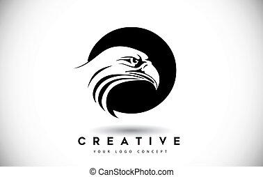 頭, ワシ, o, 手紙, ロゴ, 創造的, ベクトル, illustration.
