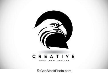 頭, ワシ, q, 手紙, ロゴ, 創造的, ベクトル, illustration.