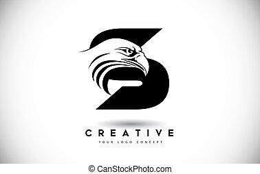 頭, ワシ, s, 手紙, ロゴ, 創造的, ベクトル, illustration.