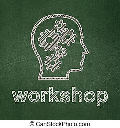 頭, ワークショップ, ギヤ, 背景, 教育, concept:, 黒板