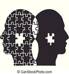 頭, 人々, 困惑, ジグソーパズル, 背景, 恋人