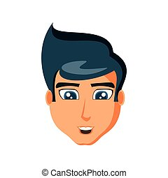 頭, 人, 特徴, 若い, avatar