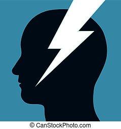 頭, 人, 透過, 螺栓, 閃電