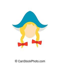 頭, 伝統的である, オランダ語, 女の子, 帽子, アイコン