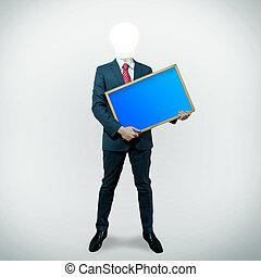 頭, 保有物, ビジネス, スクリーン, 黒, 板, 背景, 電球, 人