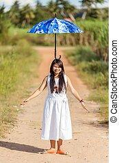 頭, 傘, 彼女, 若い, バランスをとる, タイ人, 女の子