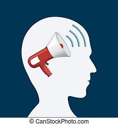 頭, 内側。, 人間, メガホン, 扇動, 広告