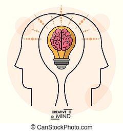 頭, 効率的である, 心, 記憶, 創造性, 脳, チーム, 電球