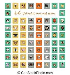 頭, 動物, カラフルである, アイコン, コレクション, 66
