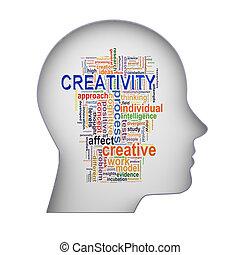 頭, 単語, タグ, 創造性, 人間, 3d