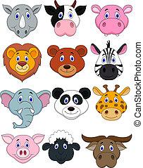 頭, 卡通, 動物, 圖象